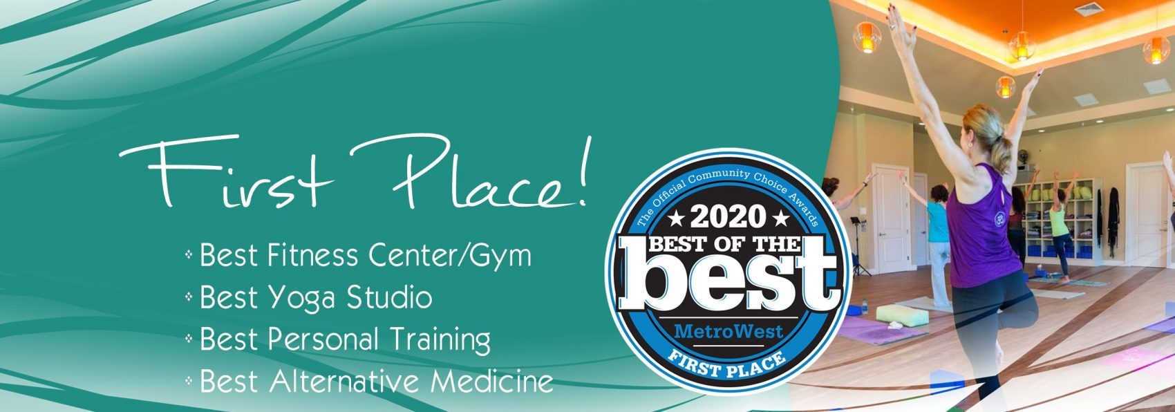 We took First Place! Best Fitness Center | Best Yoga Studio | Best Personal Training | Best Alternative Medicine